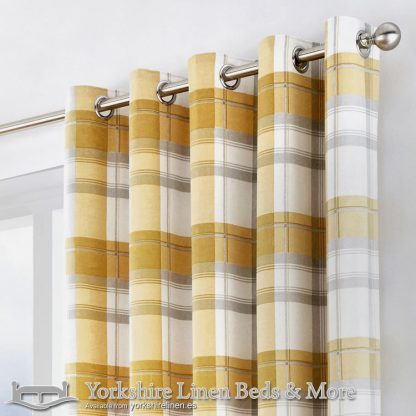 Balmoral Ochre Ring Top Curtains Yorkshire Linen Warehouse Beds & More Mijas Marbella Spain P02