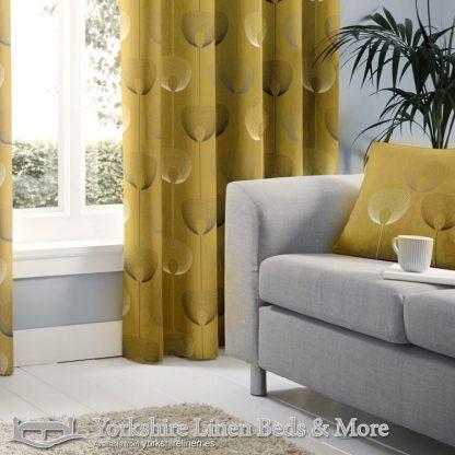 Delta Ring Top Curtains Ochre Yorkshire Linen Warehouse Beds & More Mijas Marbella Spain P02