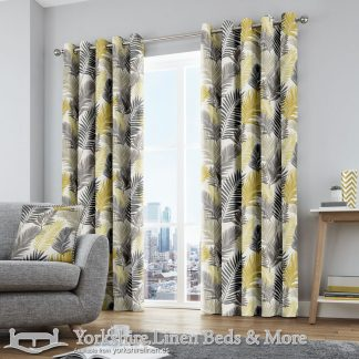 Tropical Ring Top Curtains Ochre Yorkshire Linen Warehouse Beds & More Mijas Marbella Spain P01