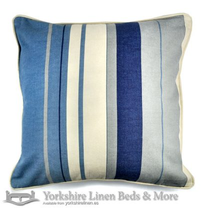 Whitworth Stripe Cushion Cover Blue Yorkshire Linen Warehouse Beds & More Mijas Marbella Spain P01