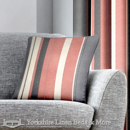 Whitworth Stripe Cushion Cover Blush Yorkshire Linen Warehouse Beds & More Mijas Marbella Spain P01