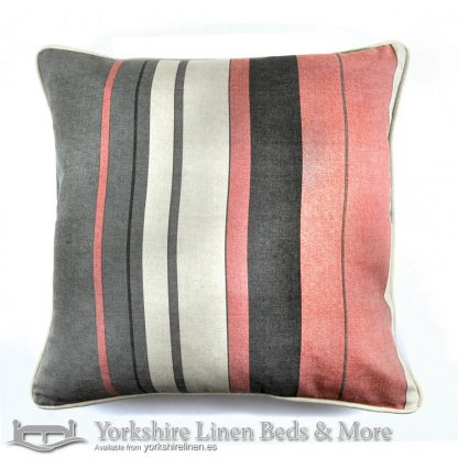 Whitworth Stripe Cushion Cover Blush Yorkshire Linen Warehouse Beds & More Mijas Marbella Spain P02