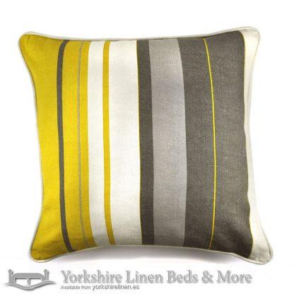 Whitworth Stripe Cushion Cover Ochre Yorkshire Linen Warehouse Beds & More Mijas Marbella Spain P02