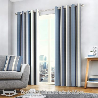 Whitworth Stripe Ring Top Curtains Blue Yorkshire Linen Warehouse Beds & More Mijas Marbella Spain P01