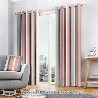 Whitworth Stripe Ring Top Curtains Blush Yorkshire Linen Warehouse Beds & More Mijas Marbella Spain P01