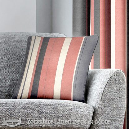 Whitworth Stripe Ring Top Curtains Blush Yorkshire Linen Warehouse Beds & More Mijas Marbella Spain P04