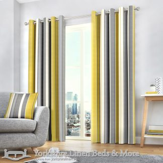 Whitworth Stripe Ring Top Curtains Ochre Yorkshire Linen Warehouse Beds & More Mijas Marbella Spain P01