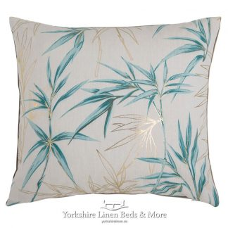 Bamboo Print Cushion Cover Blue Yorkshire Linen Beds & More Mijas Costa Marbella