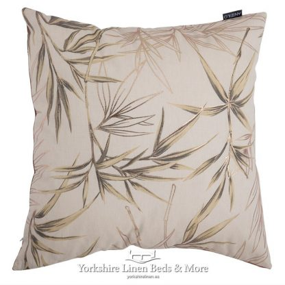 Bamboo Print Cushion Cover Natural Yorkshire Linen Beds & More Mijas Costa Marbella