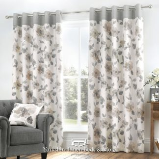 Adriana Floral Natural Ring Top Curtains - Yorkshire Linen Beds & More Bed Shops Mijas Costa Marbella P01