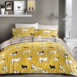 Doggy Mayhem Duvet Cover Set Ochre - Yorkshire Linen Beds & More Bed Shops Mijas Costa Marbella P01
