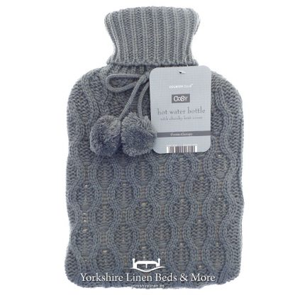 Luxury Knitted Hot Water Bottles Grey - Yorkshire Linen Beds & More Bed Shops Mijas Costa Marbella P01