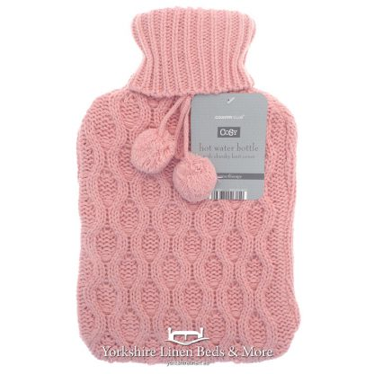 Luxury Knitted Hot Water Bottles Pink - Yorkshire Linen Beds & More Bed Shops Mijas Costa Marbella P01