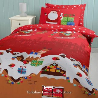 Santas Christmas Presents Duvet Cover Set - Yorkshire Linen Beds & More Bed Shops Mijas Costa Marbella P01