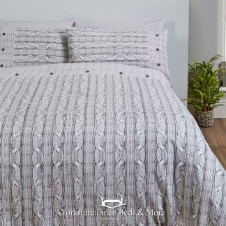 Aron Flannelette Duvet Cover Grey - Yorkshire Linen Beds & More Bed and Linen Shops Mijas Costa Marbella P01