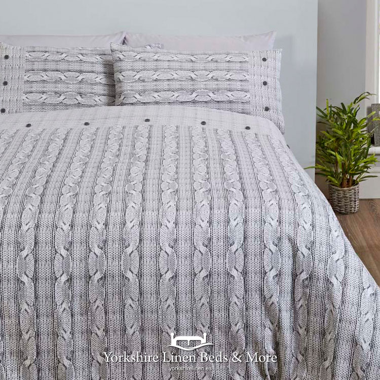 Aron Flannelette Duvet Cover Grey Yorkshire Linen Beds And More