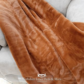 Cinnamon Faux Fur Throw - Yorkshire Linen Beds & More Bed and Linen Shops Mijas Costa Marbella P01