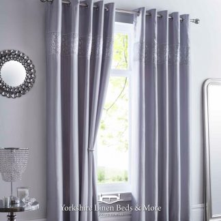 Shimmer Eyelet Curtains Silver - Yorkshire Linen Beds & More Bed and Linen Shops Mijas Costa Marbella P01