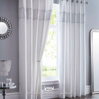 Shimmer Eyelet Curtains White - Yorkshire Linen Beds & More Bed and Linen Shops Mijas Costa Marbella P01