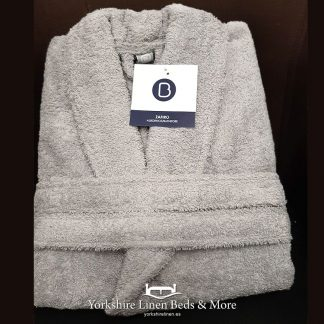 Zafiro Cotton Bathrobes Silver - Yorkshire Linen Beds & More Bed and Linen Shops Mijas Costa Marbella P01