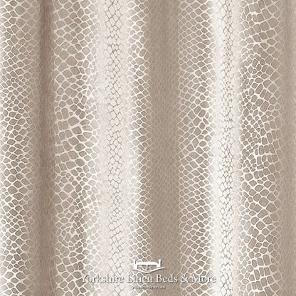 Crocodile Velvet Curtain Panels Beige