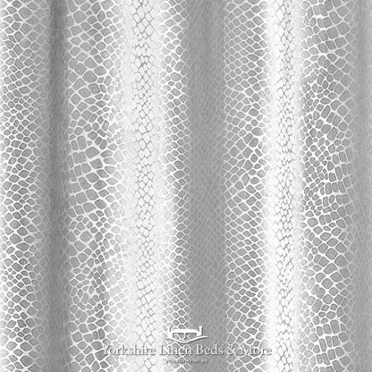 Crocodile Velvet Curtain Panels Silver