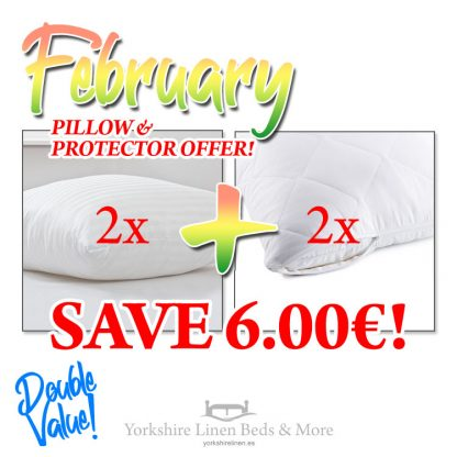 2 Satin Stripe Pillows & 2 Quilted Protectors P02