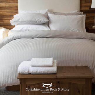 Hotel Stripe Platinum Duvet Cover Set 540TC - Yorkshire Linen Beds & More Fuengirola Marbella Spain P01