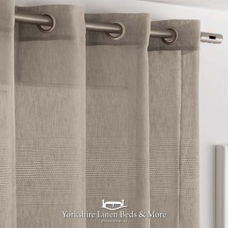 Indian Ringtop Voile Panel Taupe - Yorkshire Linen Beds & More Fuengirola Marbella Spain P01