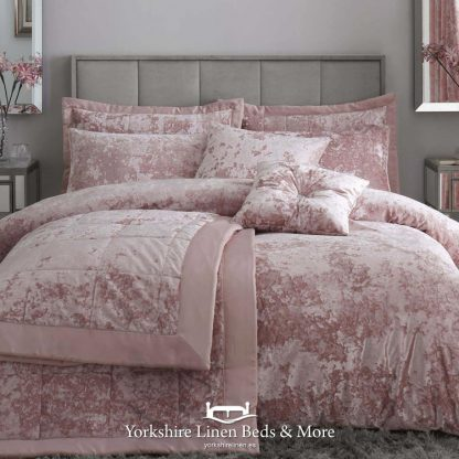 Catherine Lansfield Crushed Velvet Duvet Cover Set Blush Pink - Yorkshire Linen Beds & More
