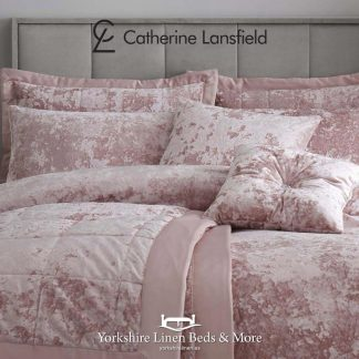 Catherine Lansfield Crushed Velvet Duvet Cover Set Blush Pink - Yorkshire Linen Beds & More P02