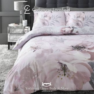 Catherine Lansfield Dramatic Floral Blush Pink Duvet Cover Set - Yorkshire Linen Beds & More