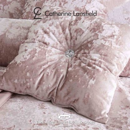 Crushed Velvet Cushions Complete Blush Pink - Yorkshire Linen Beds & More P01