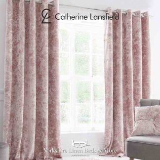 Crushed Velvet Ring Top Curtains in Blush Pink - Yorkshire Linen Beds & More