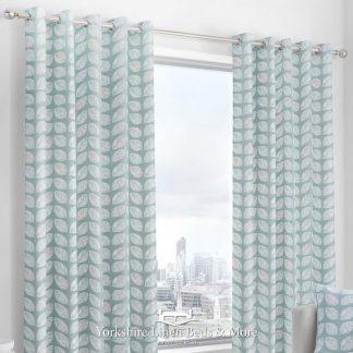 Delia Linen-Look Ringtop Curtains Duck Egg Blue - Yorkshire Linen Beds & More