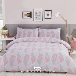 Leo Geometric Duvet Cover Set, Blush Pink - Yorkshire Linen Beds & More