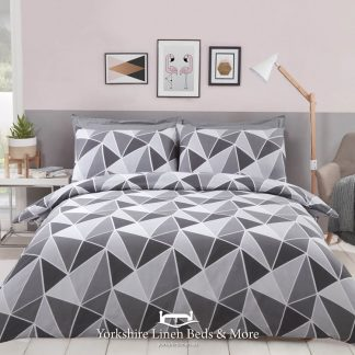 Leo Geometric Duvet Cover Set Grey - Yorkshire Linen Beds & More