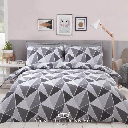 Leo Geometric Duvet Cover Set Grey - Yorkshire Linen Beds & More