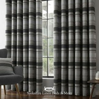 Powell Stripe Jacquard Ring Top Curtains - Yorkshire Linen Beds & More