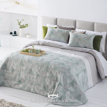 Vermont Jacquard Duck Egg and Silver Bedspread - Yorkshire Linen Beds & More Mijas Costa Marbella Spain P01