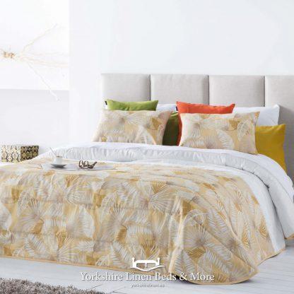 Vermont Ochre and Beige Jacquard Bedspread - Yorkshire Linen Beds & More Mijas Costa Marbella Spain P01