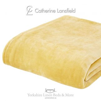 XL Velvet Plush Throw Ochre - Yorkshire Linen Beds & More