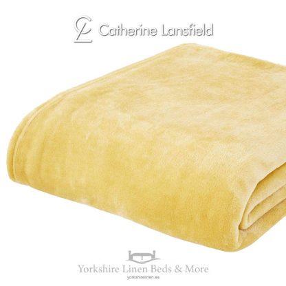 XL Velvet Plush Throw Ochre - Yorkshire Linen Beds & More