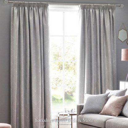 Art Deco Pencil Pleat Curtain Pair Silver - Yorkshire Linen Beds & More