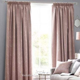 Art Deco Tape Top Curtains Blush Pink - Yorkshire Linen Beds & More