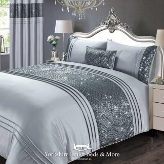 Charmaine Sparkle Duvet Cover in Silver - Yorkshire Linen Beds & More