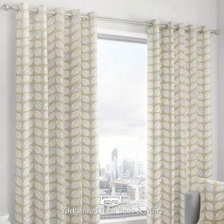 Delia Linen-Look Ringtop Curtains Natural - Yorkshire Linen Beds & More
