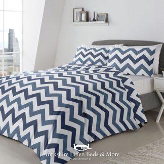 Zig Zag Blue Reversible Duvet Cover Set - Yorkshire Linen Beds & More