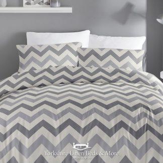 Zig Zag Grey Reversible Duvet Cover Set - Yorkshire Linen Beds & More