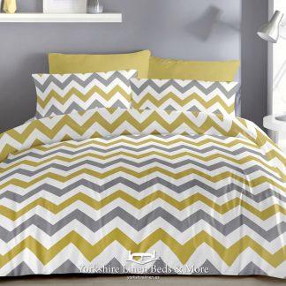 Zig Zag Ochre Reversible Duvet Cover Set - Yorkshire Linen Beds & More